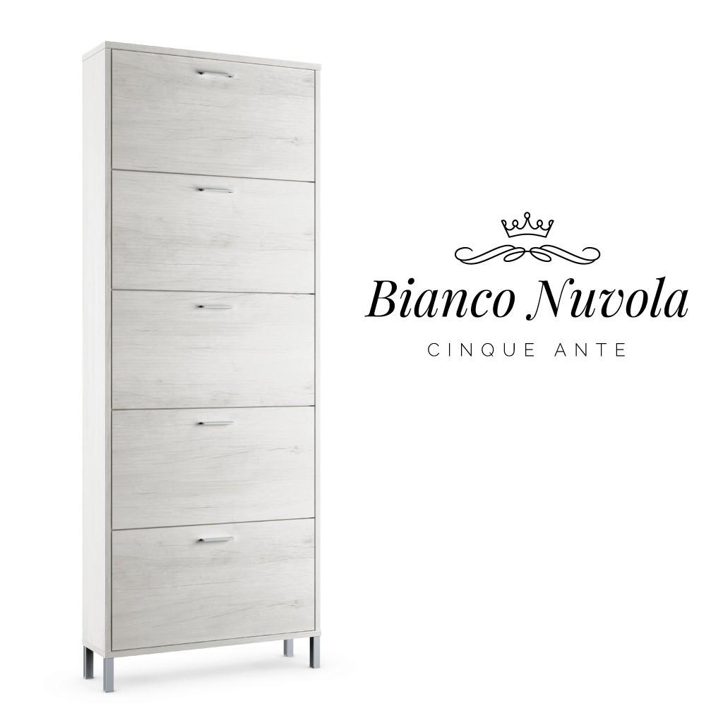 Scarpiera 5 Ante Doppia Profondita.Scarpiera Slim Design Legno Bianco A 5 Ante Eccellenza Italiana